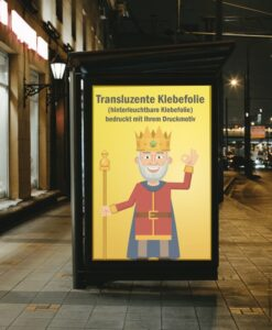 Selbstklebende transluzente Folie an einer hinterleuchteten Werbetafel