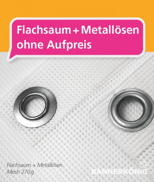 Gerüstbanner Mesh Wunschformat - Flachsaum + Metallösen | BANNERKÖNIG
