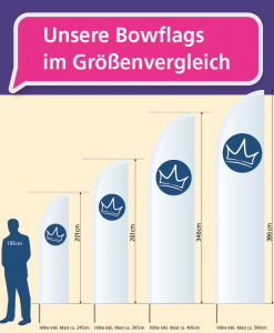 Bowflag - Größenvergleich   BANNERKÖNIG