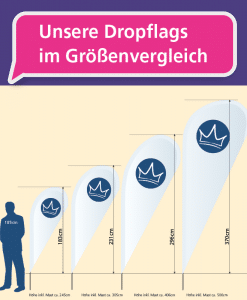 Dropflag - Größenvergleich   BANNERKÖNIG