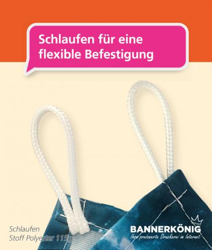 Stoffbanner/Textilbanner – Schlaufen in den Ecken
