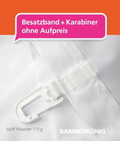 Stoffbanner/Textilbanner – Besatzband + Karabiner | BANNERKÖNIG