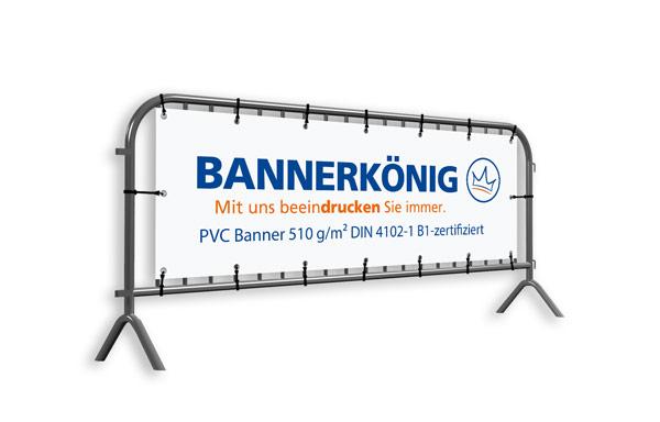 Banner aus 510 g/m² starkem PVC Frontlit mit Wunschaufdruck für Absperrgitter/Absperrungen