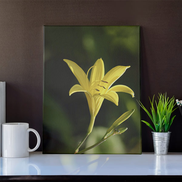 Abbildung einer gelben Lilie auf einem Leinwandbild