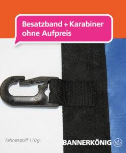 Stoffbanner/Textilbanner – Besatzband + Karabiner