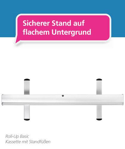 Abbildung des Roll-Up Basic – mobiler und ausziehbarer Werbeaufsteller mit solidem Standsystem