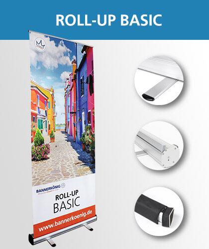 Roll-Up Basic-Display inklusive Detailansichten – Foto des mobilen Werbeaufstellers