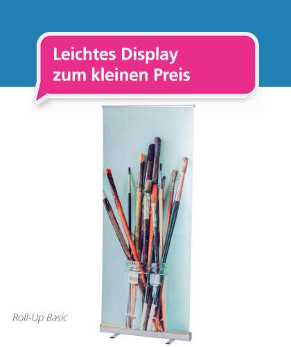 Roll-Up Basic-Display – Foto des günstigen Werbeaufstellers