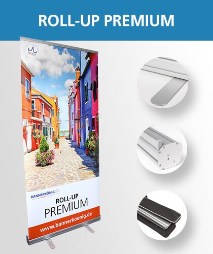 Roll-Up Premium-Display inklusive Detailansichten – Foto des mobilen Werbeaufstellers