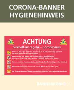 Corona-Banner mit Hygienehinweisen