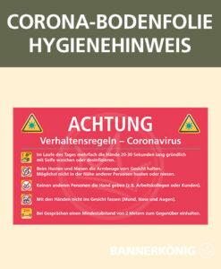 Corona-Bodenfolie mit Hygienehinweisen