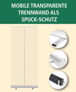 Mobile transparente Trennwand als Spuck-Schutz | BANNERKÖNIG