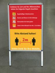 Schild / Aufsteller 'Abstand halten' Schutz & Regeln zur Sicherheit