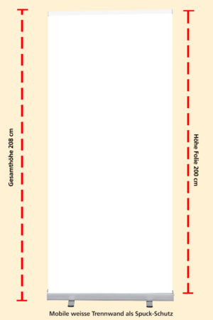 Mobile weisse Trennwand als Spuck-Schutz | BANNERKÖNIG