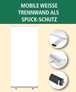 Mobile weiße Trennwand als Spuck-Schutz