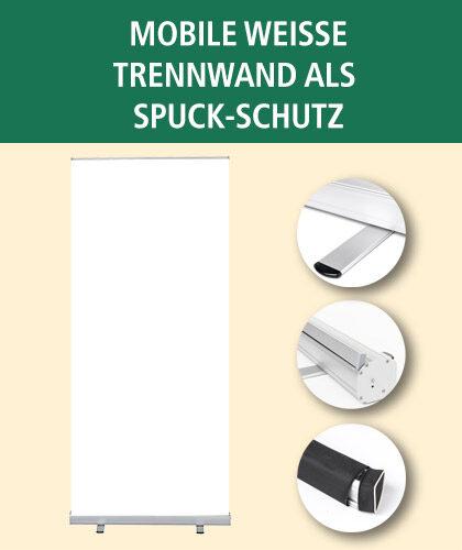 Mobile Weiße Trennwand als Spuck-Schutz | BANNERKÖNIG