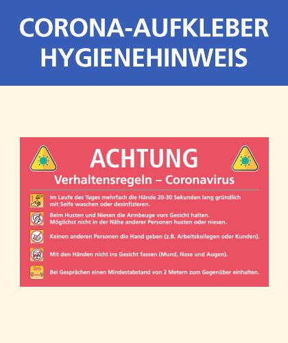 Corona-Aufkleber mit Hygienehinweisen