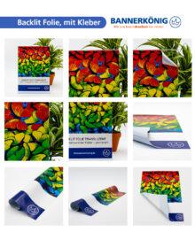 Backlit Folie, mit Kleber – Materialansicht gesamt