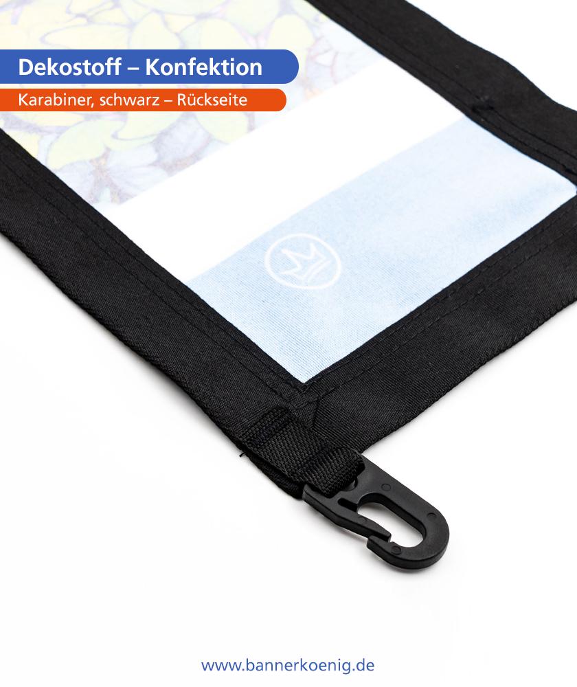 Dekostoff – Konfektion Karabiner, schwarz, Rückseite