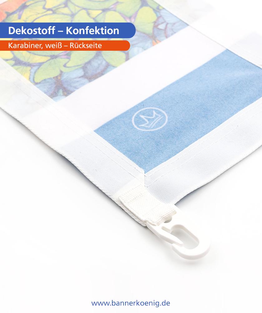 Dekostoff – Konfektion Karabiner, weiß, Rückseite