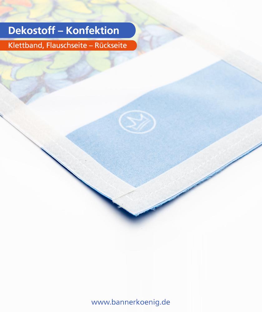 Dekostoff – Konfektion Klettband, Flauschseite, Rückseite