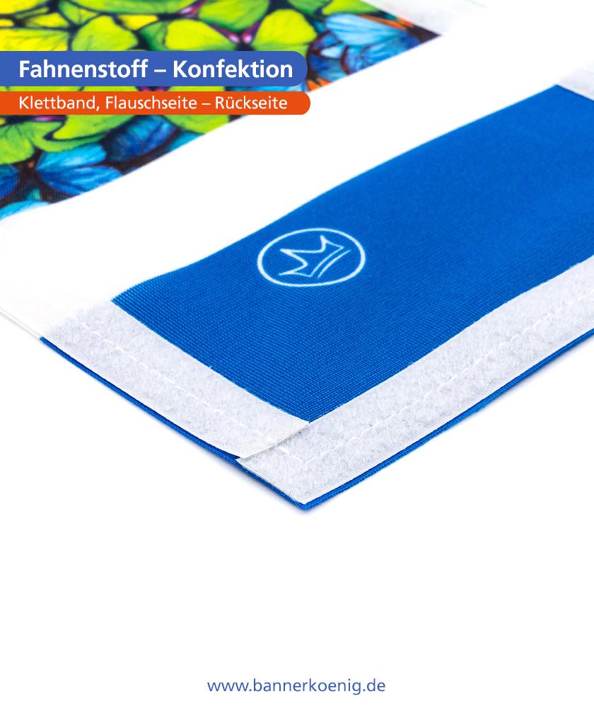 Fahnenstoff – Konfektion Klettband, Flauschseite, Rückseite