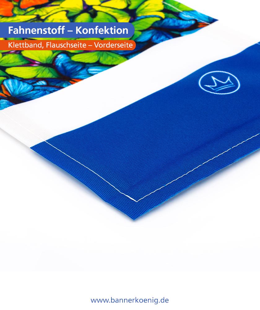 Fahnenstoff – Konfektion Klettband, Flauschseite, Vorderseite