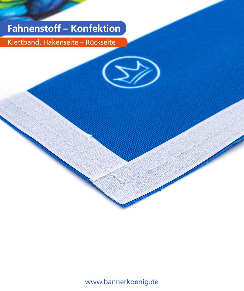 Fahnenstoff – Konfektion Klettband, Hakenseite, Rückseite