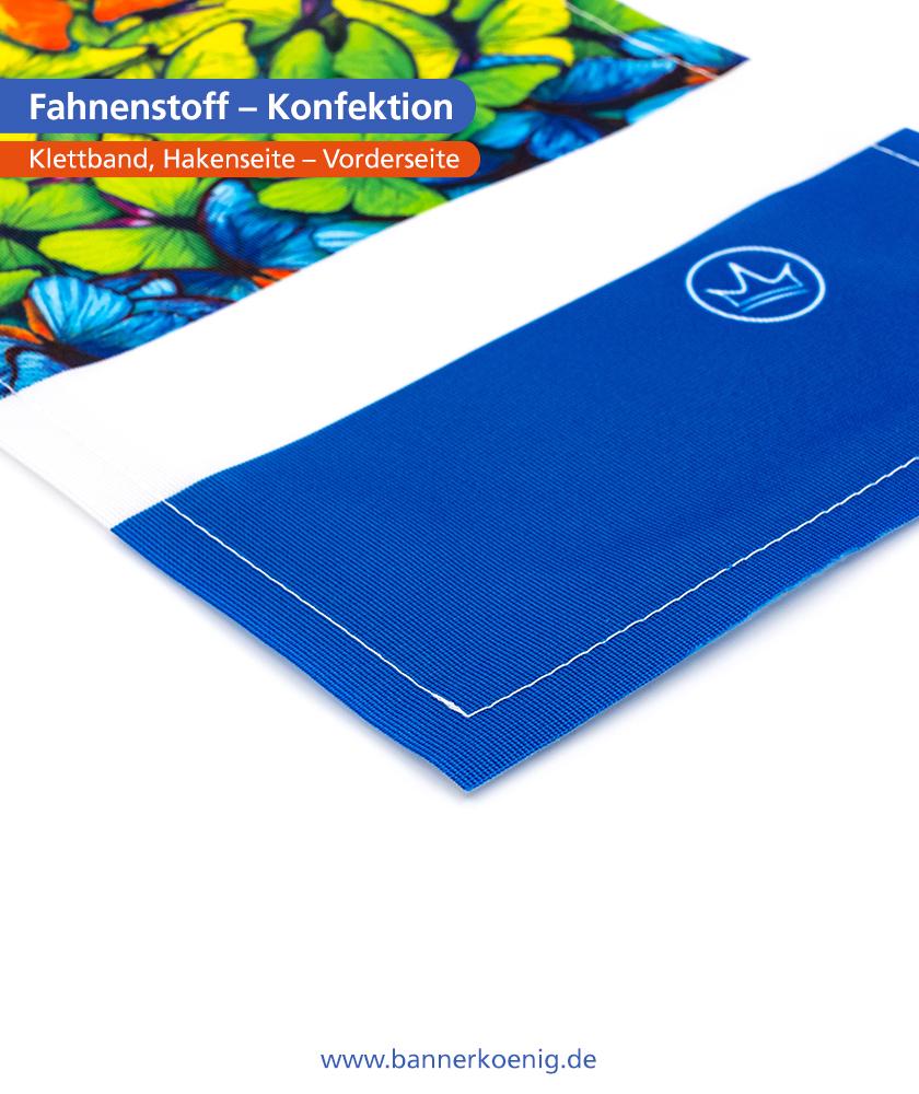Fahnenstoff – Konfektion Klettband, Hakenseite, Vorderseite