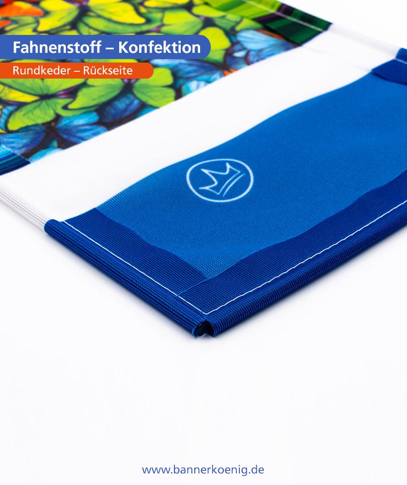Fahnenstoff – Konfektion Rundkeder, Rückseite