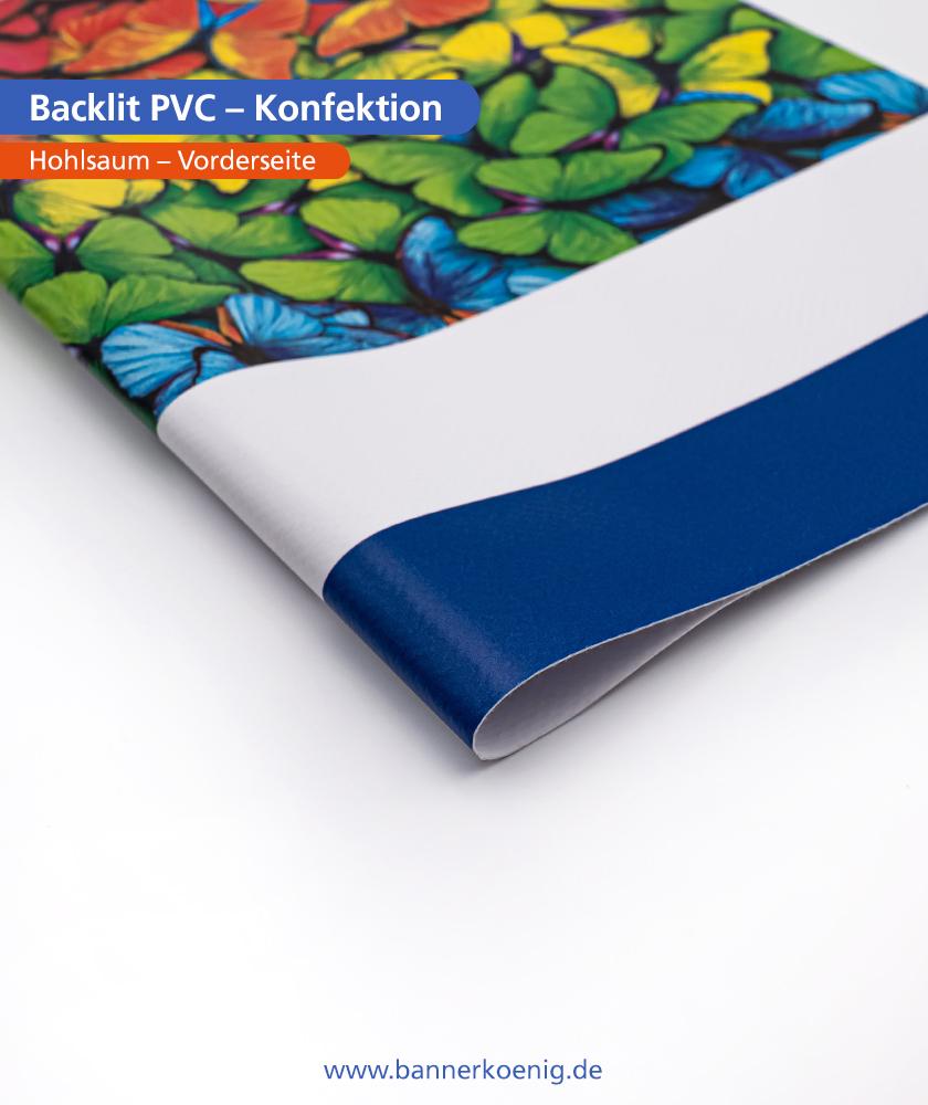 Backlit PVC – Konfektion Hohlsaum, Vorderseite