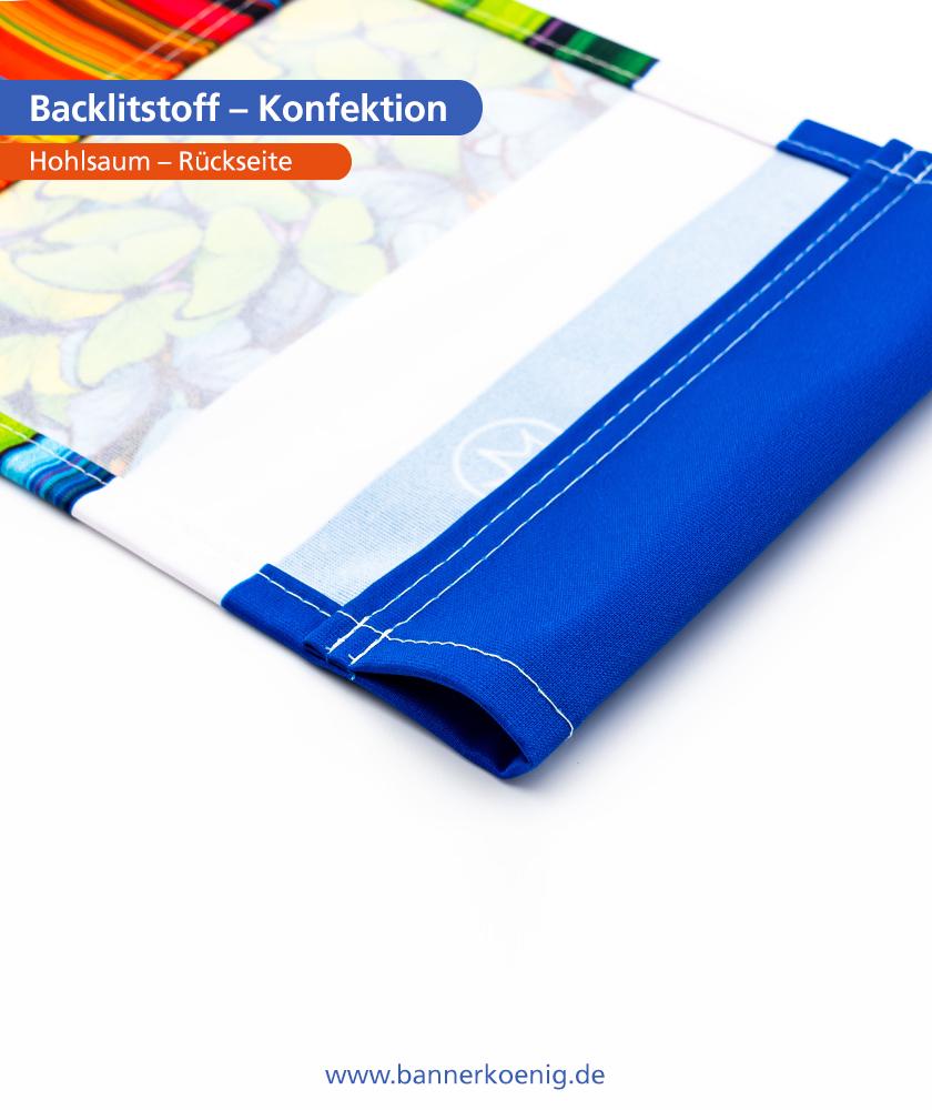 Backlitstoff – Konfektion Hohlsaum, Rückseite