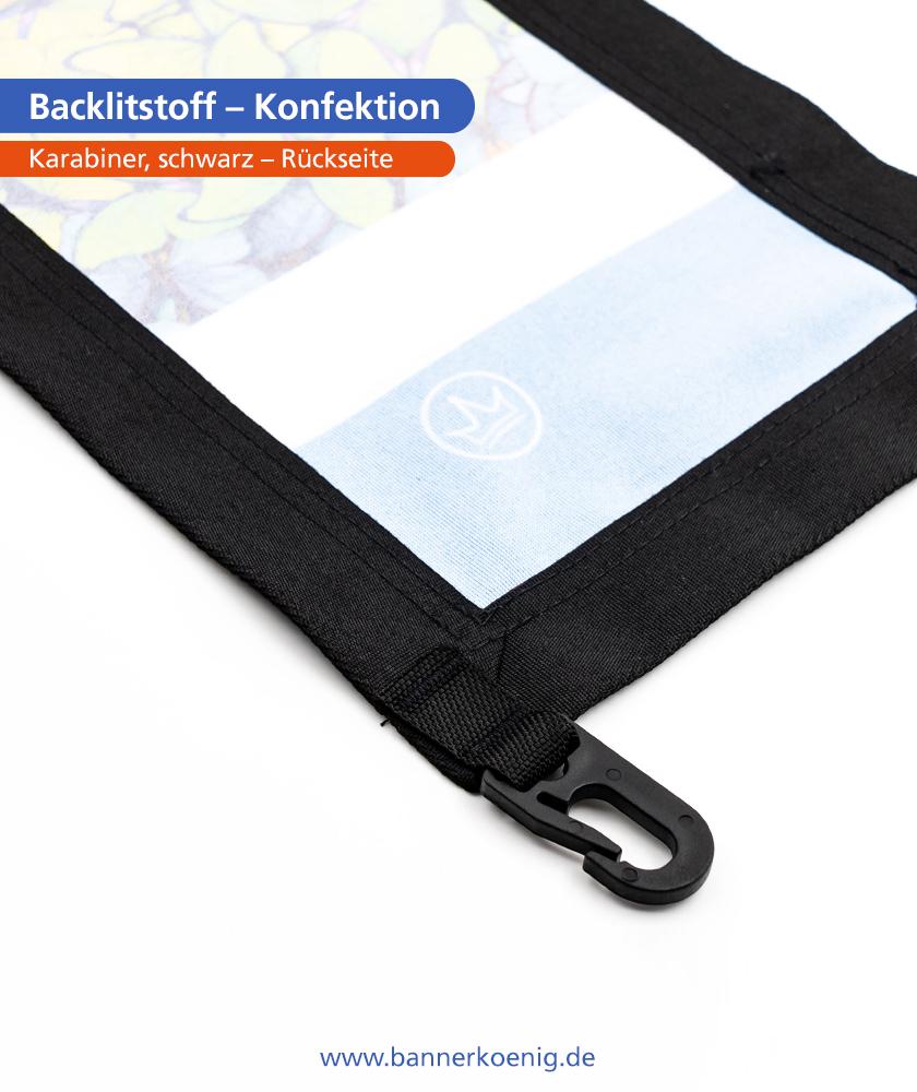Backlitstoff – Konfektion Karabiner, schwarz, Rückseite