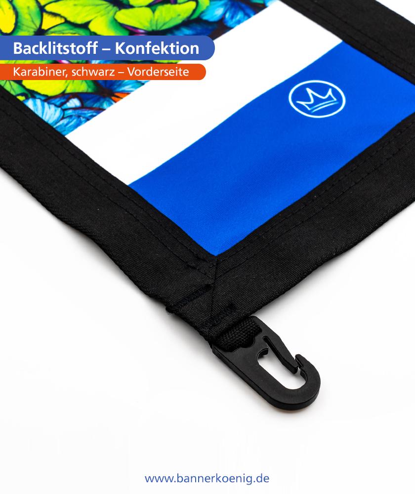 Backlitstoff – Konfektion Karabiner, schwarz, Vorderseite