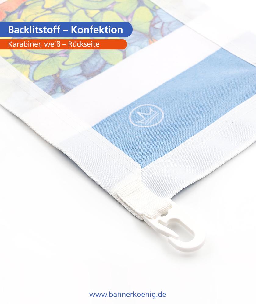 Backlitstoff – Konfektion Karabiner, weiß, Rückseite