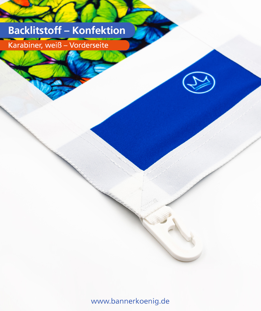 Backlitstoff – Konfektion Karabiner, weiß, Vorderseite