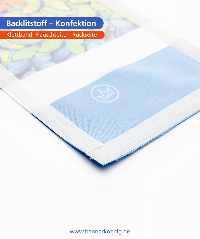 Backlitstoff – Konfektion Klettband, Flauschseite, Vorderseite