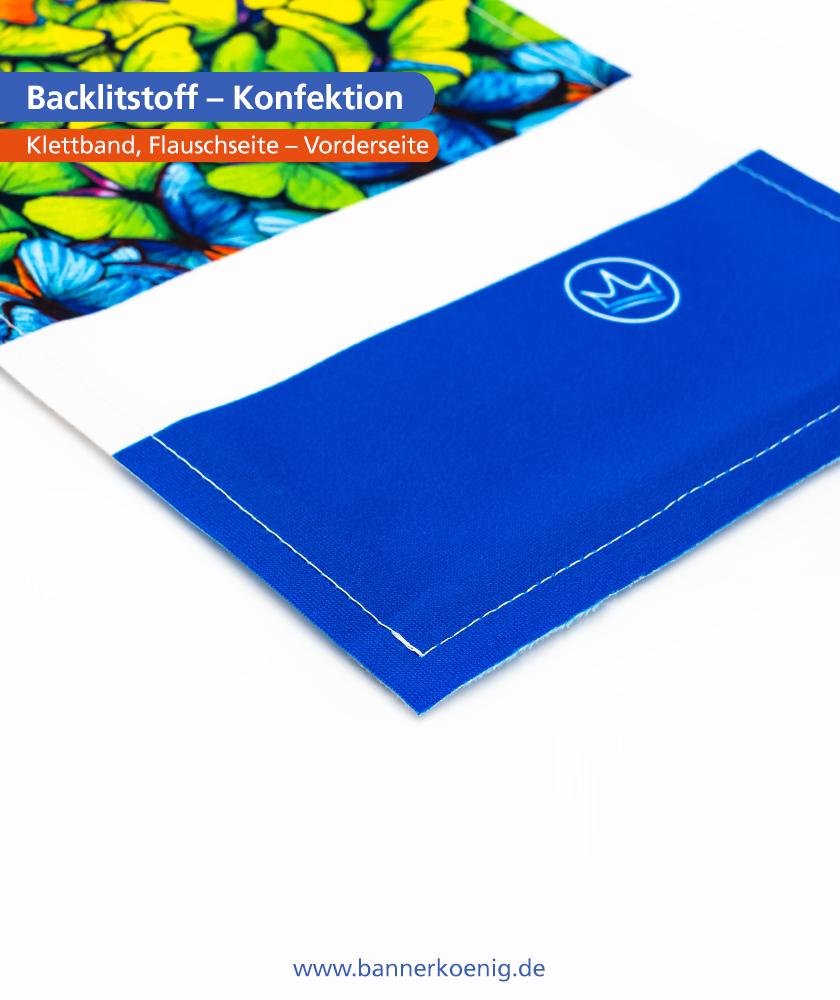 Backlitstoff – Konfektion Klettband, Flauschseite, Rückseite