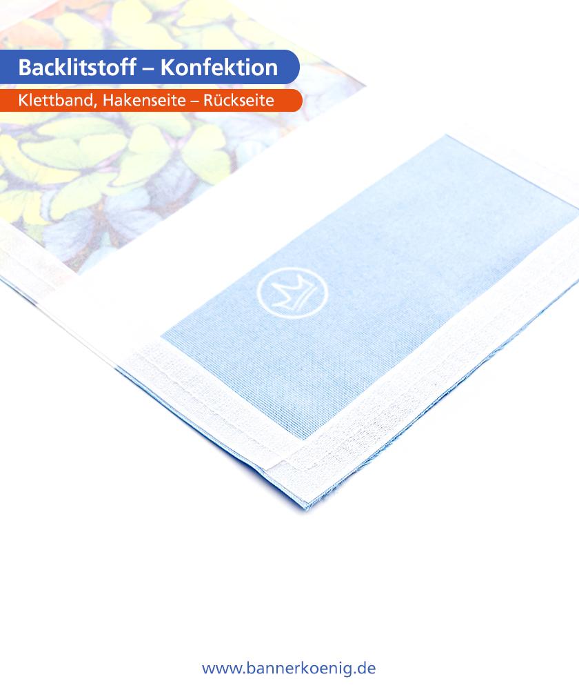 Backlitstoff – Konfektion Klettband, Hakenseite, Rückseite