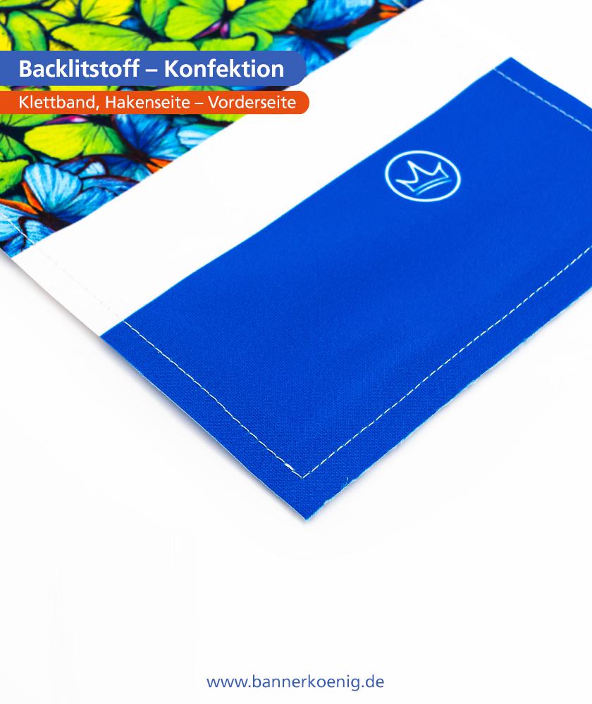 Backlitstoff – Konfektion Klettband, Hakenseite, Vorderseite