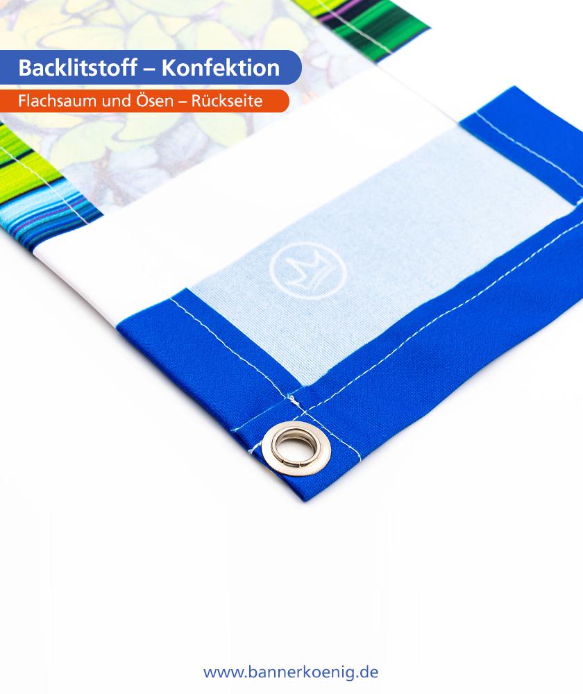 Backlitstoff – Konfektion Ösen, Rückseite