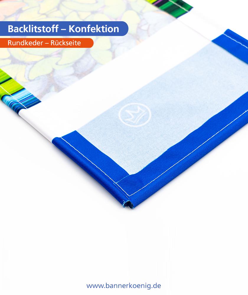 Backlitstoff – Konfektion Rundkeder, Rückseite