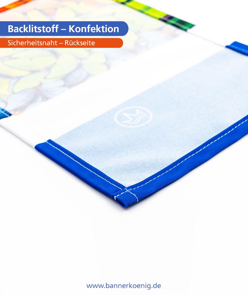 Backlitstoff – Konfektion Sicherheitsnaht, Rückseite