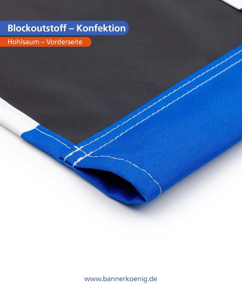 Blockoutstoff – Konfektion Hohlsaum, Rückseite