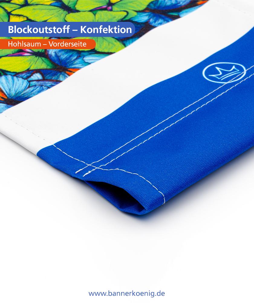 Blockoutstoff – Konfektion Hohlsaum, Vorderseite