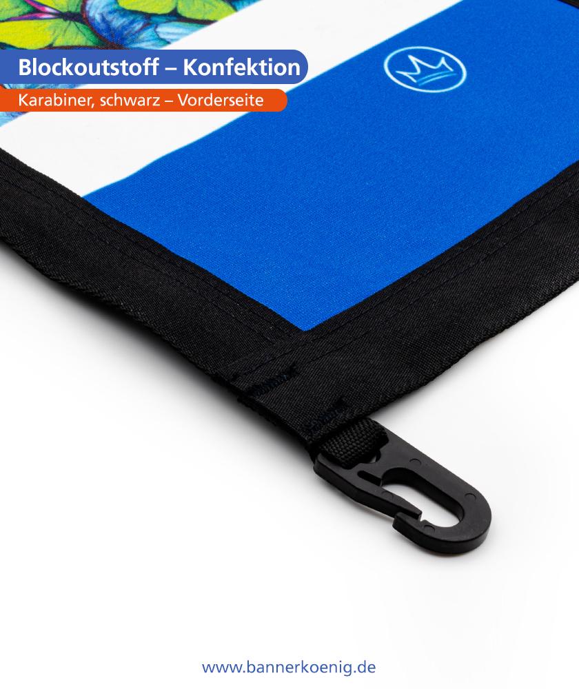 Blockoutstoff – Konfektion Karabiner, schwarz, Vorderseite