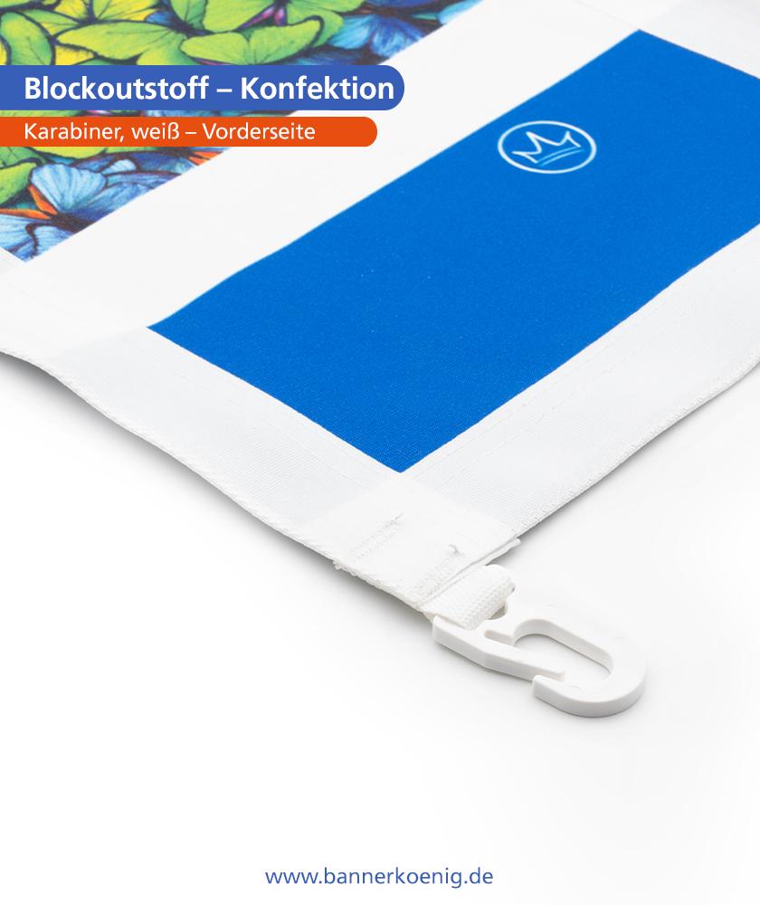 Blockoutstoff – Konfektion Karabiner, weiß, Vorderseite