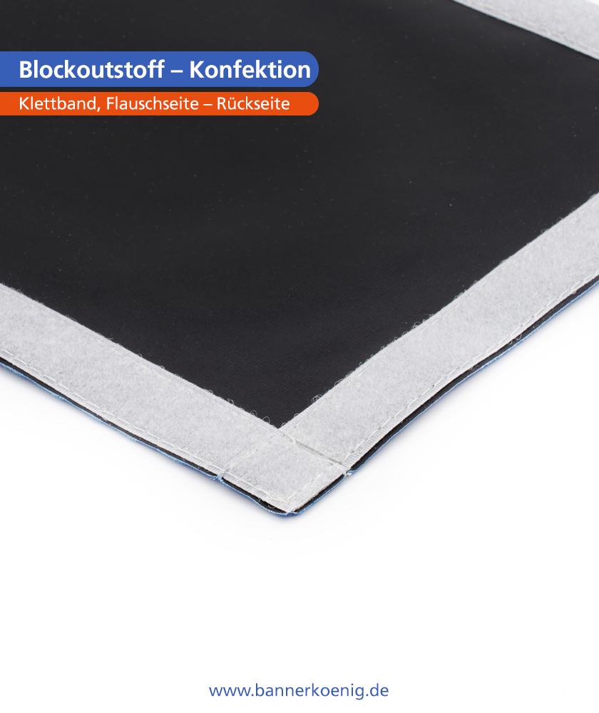 Blockoutstoff – Konfektion Klettband, Flauschseite, Rückseite
