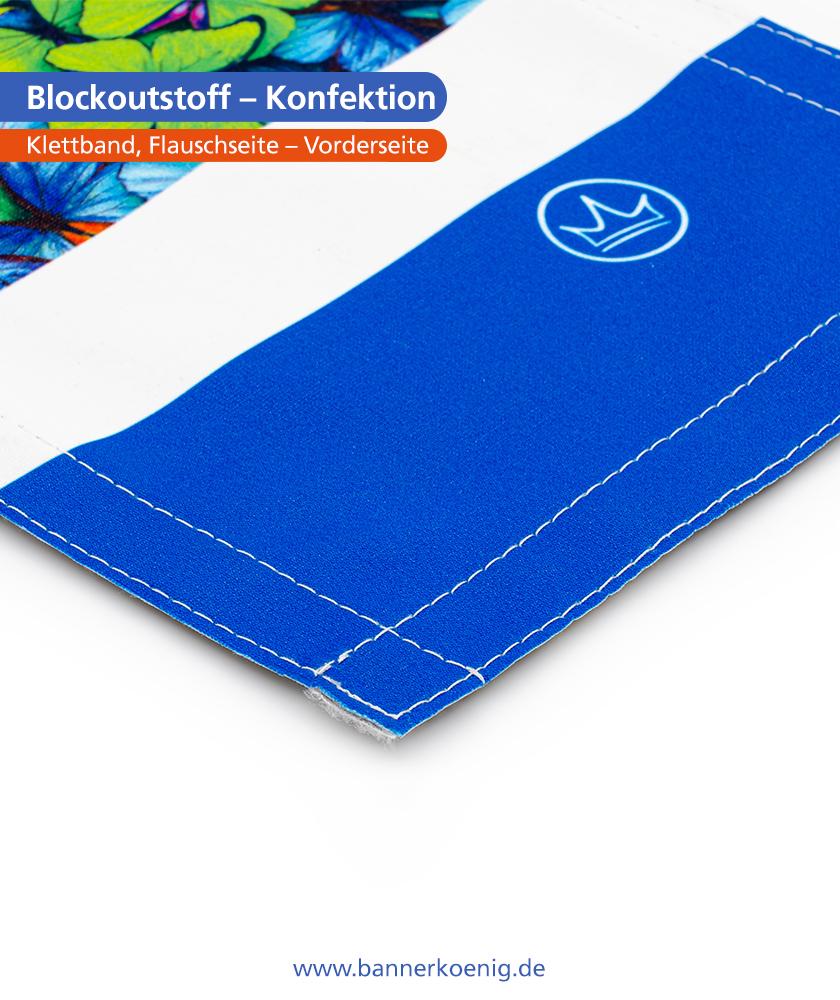 Blockoutstoff – Konfektion Klettband, Flauschseite, Vorderseite
