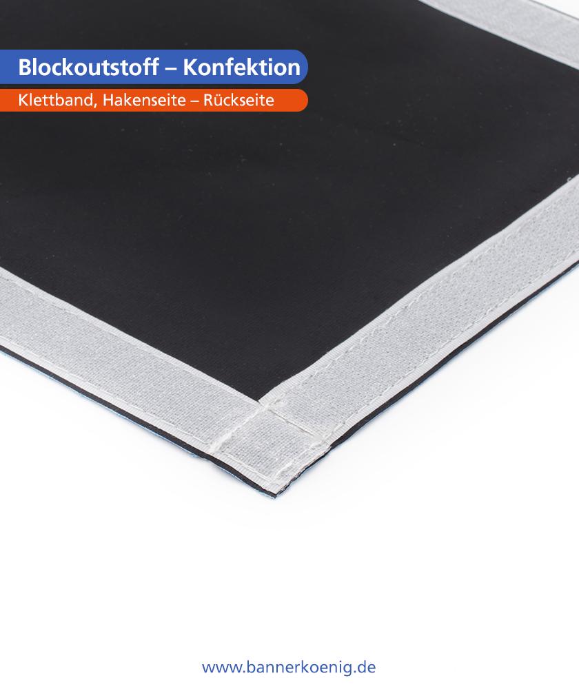 Blockoutstoff – Konfektion Klettband, Hakenseite, Rückseite